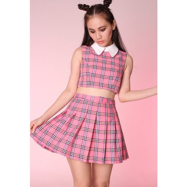 Made To Order As If Sleeveless Set in Pink Tartan (110 AUD) ❤ liked ...