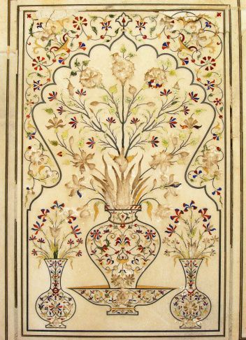Wall Panel Decorated With Finest Pietra Dura Inlay In
