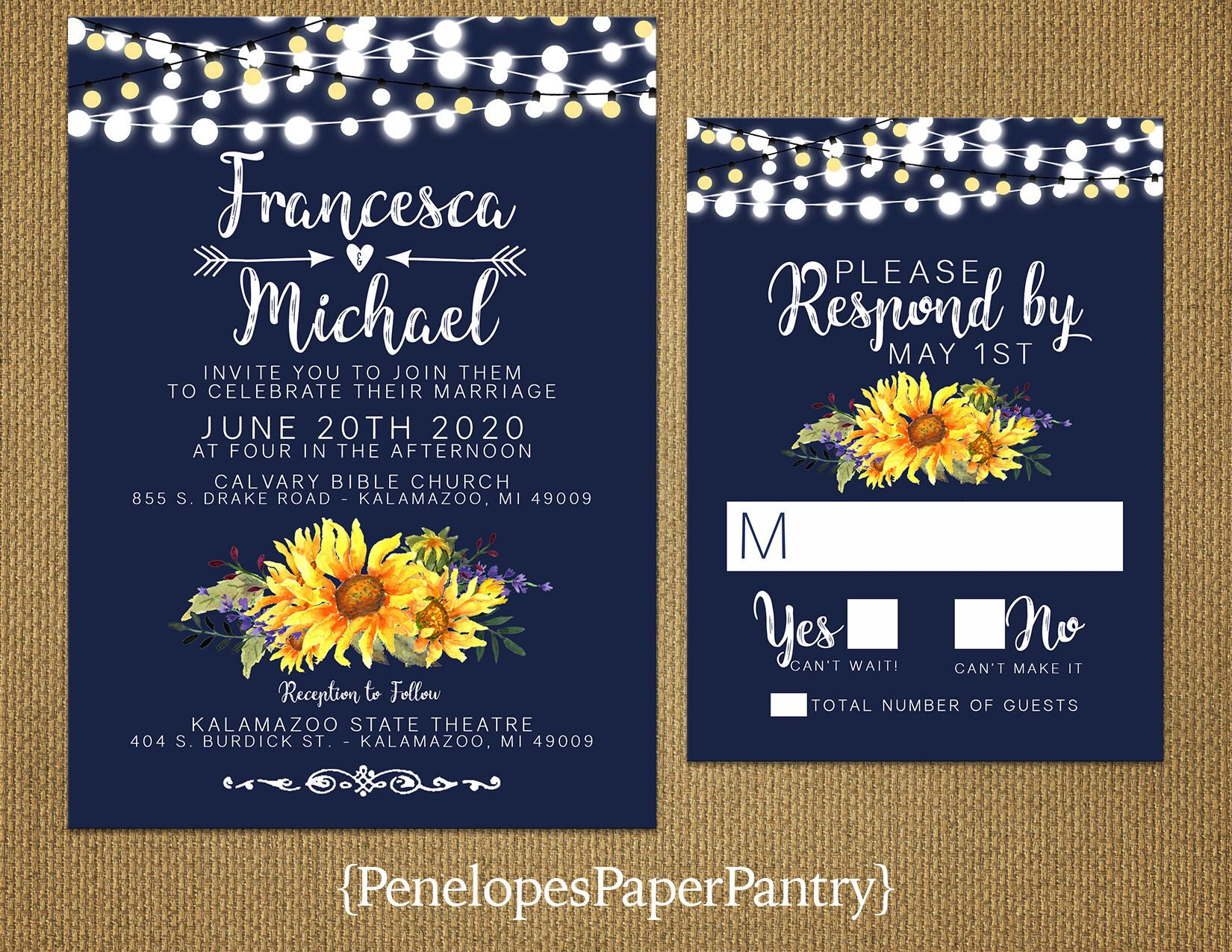 Rustic Sunflower Wedding Invitation Sunflowers Yellow Navy Fairy