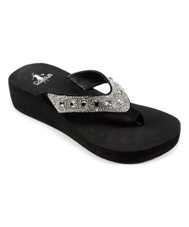 61082bec21c0 Love this Black Rhinestone St. Thomas Flip-Flop by Corky s Footwear on   zulily!  zulilyfinds