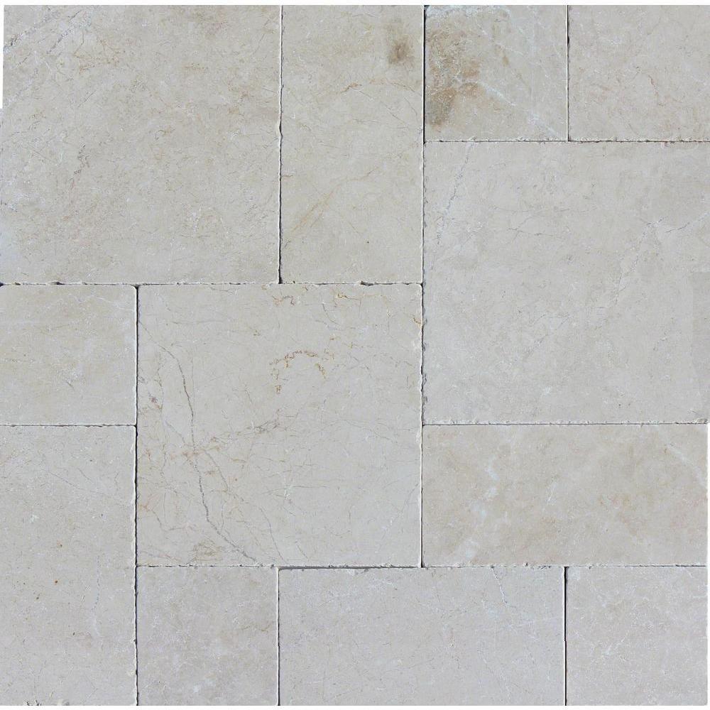 Msi Aegean Pearl Pattern 16 In X 24 In Tumbled Marble Paver Kit 10 Kits 160 Sq Ft Pallet Lpavmaegprl10k