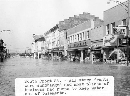 downtown fremont shows flooded business in 1959 fremont