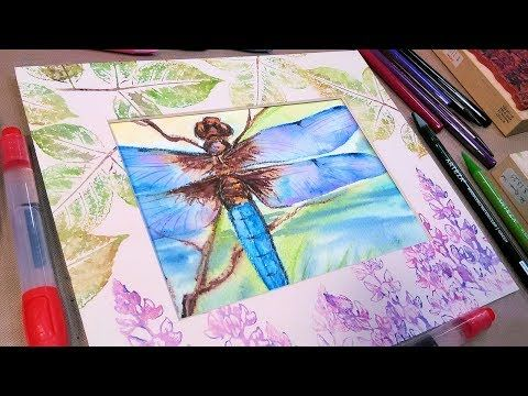 dragonfly watercolor pencil tutorial with matching mat wc pencil