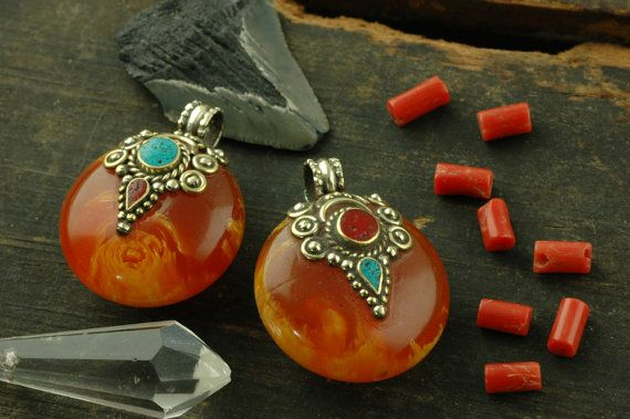 Amber Moon: Nepali Faux-Amber, Turquoise, Coral, Brass Pendant / Autumn Silk Road Craft, Jewelry Making Supplies / 1 pendant 26mm on Etsy, $9.19 CAD