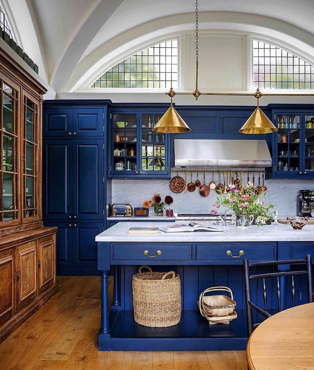 Great Old World Style Kitchen With Royal Blue Cabinets Kitchen