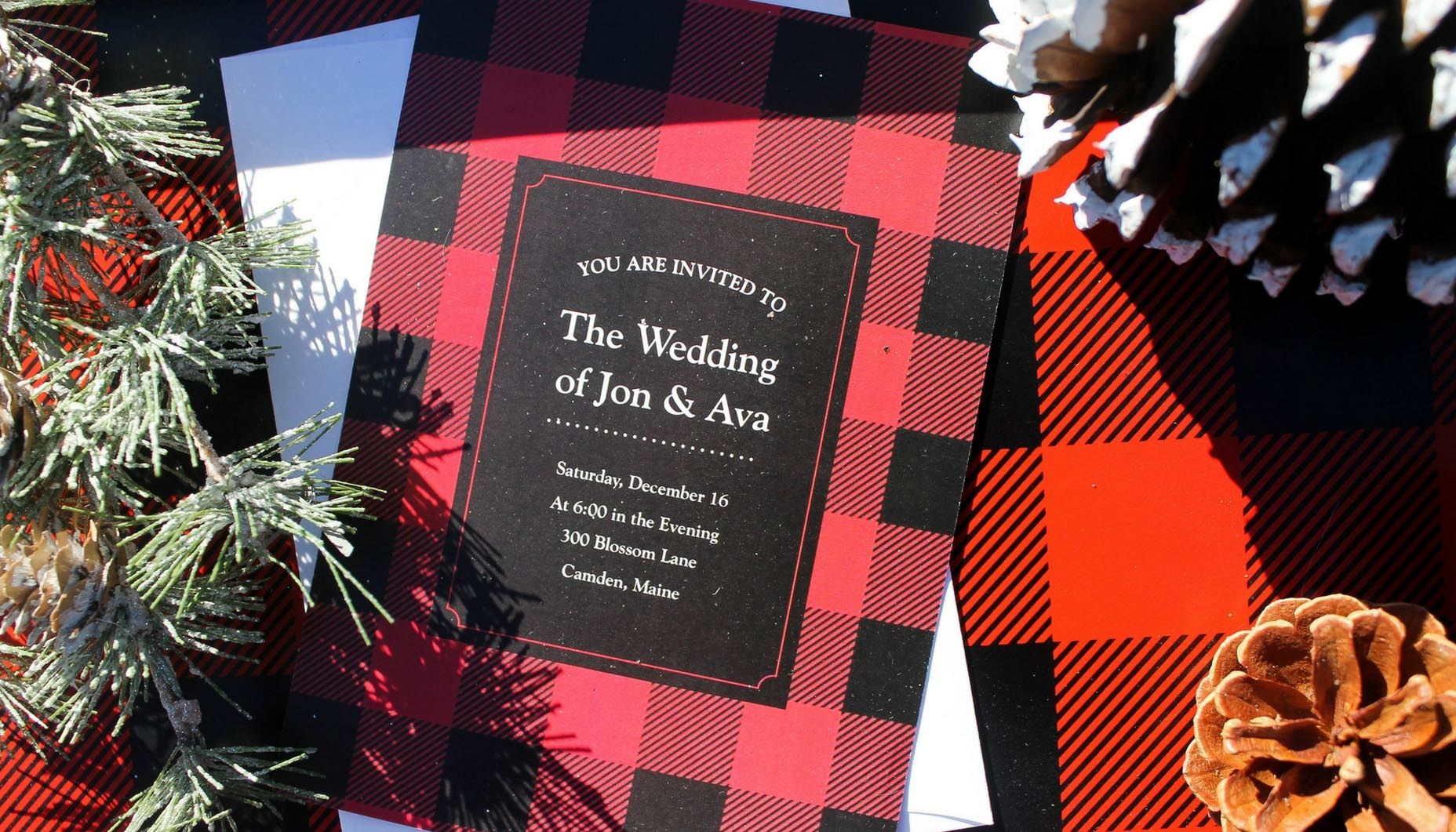 buffalo plaid winter wedding invitation | Wedding Inspiration ...