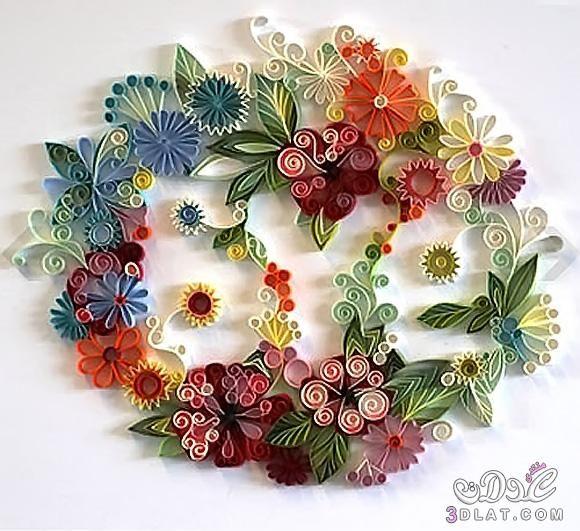 اعمال ورقية بالصور ابداع وتميز رسومات جميلة بالورق الملون اعمال يدوية رائعة صور جميلة 580 X 531 87 Quilling Designs Quilling Craft Quilling Patterns