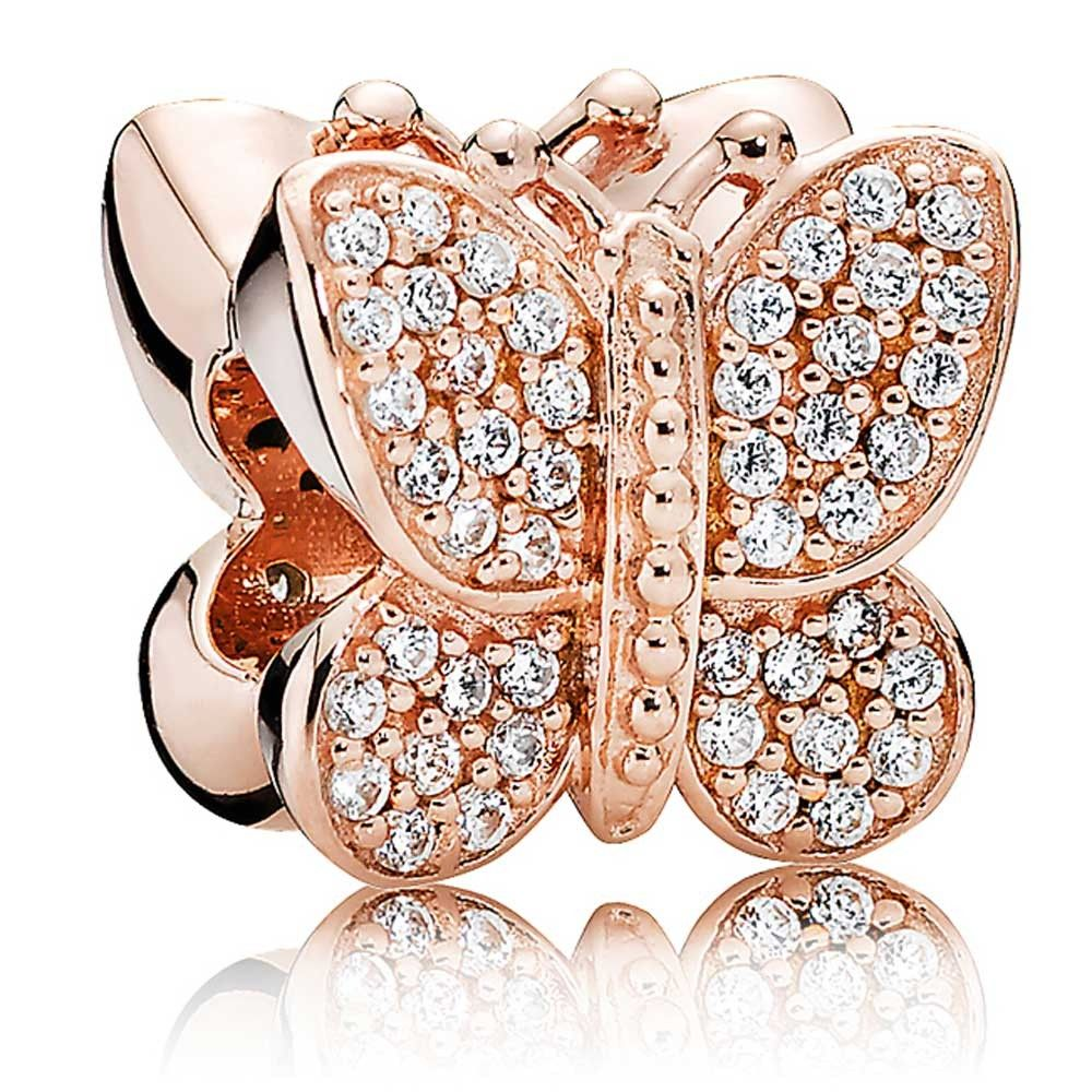 Pandora rose gold sparkling butterfly cz charm discount