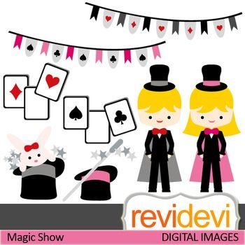 Clip art Magic Show 07406 (magician, girl, boy, play cards ...