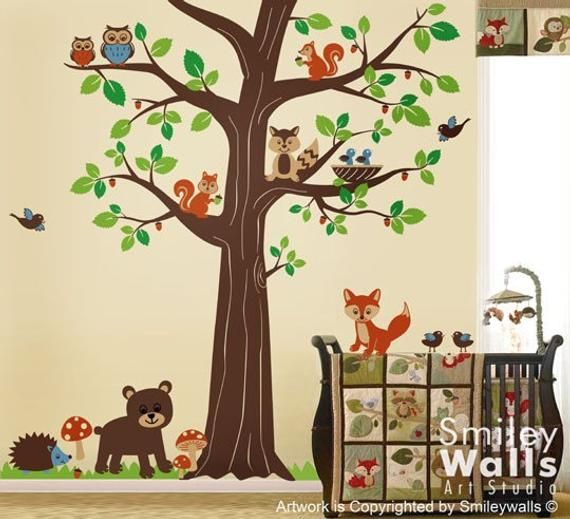 Forest Animals Tree Wall Decal Woodland Wall Decal Forest Friends