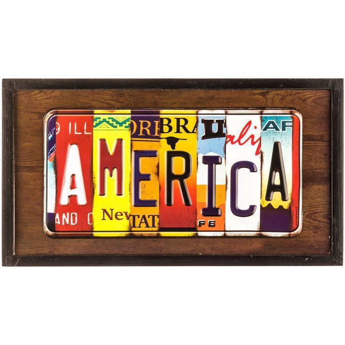 America License Plate Framed Wall Art | Art--License Plate Art ...