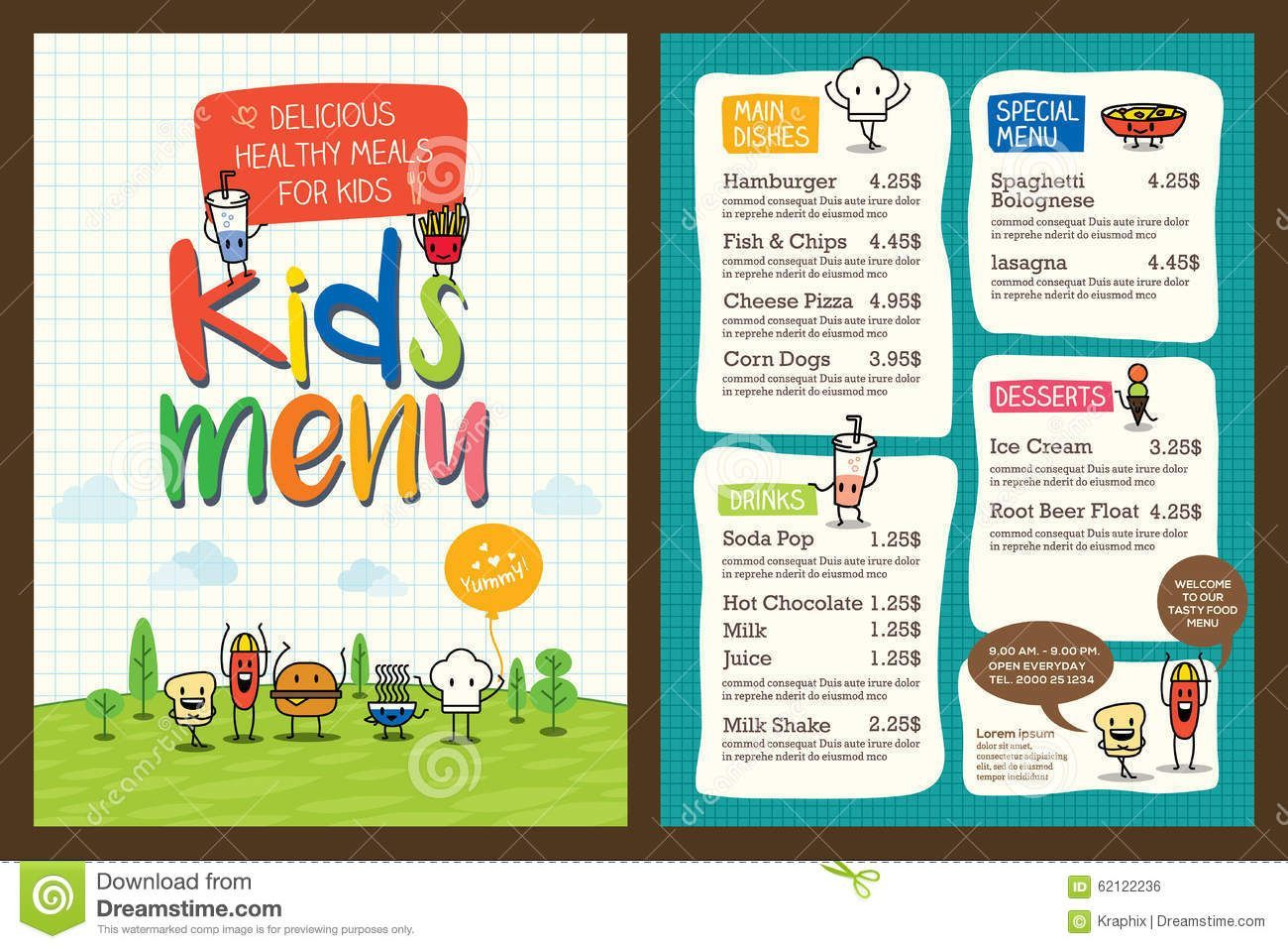 Cute Colorful Kids Meal Menu Template Stock Vector - Illustration of fork, concept: 62122236,  #colorful #concept #Cute #Fork #freshseafood #Illustration #kids #meal #Menu #seafooddinner #seafoodmenu #seafoodrecipes #Stock #template #vector