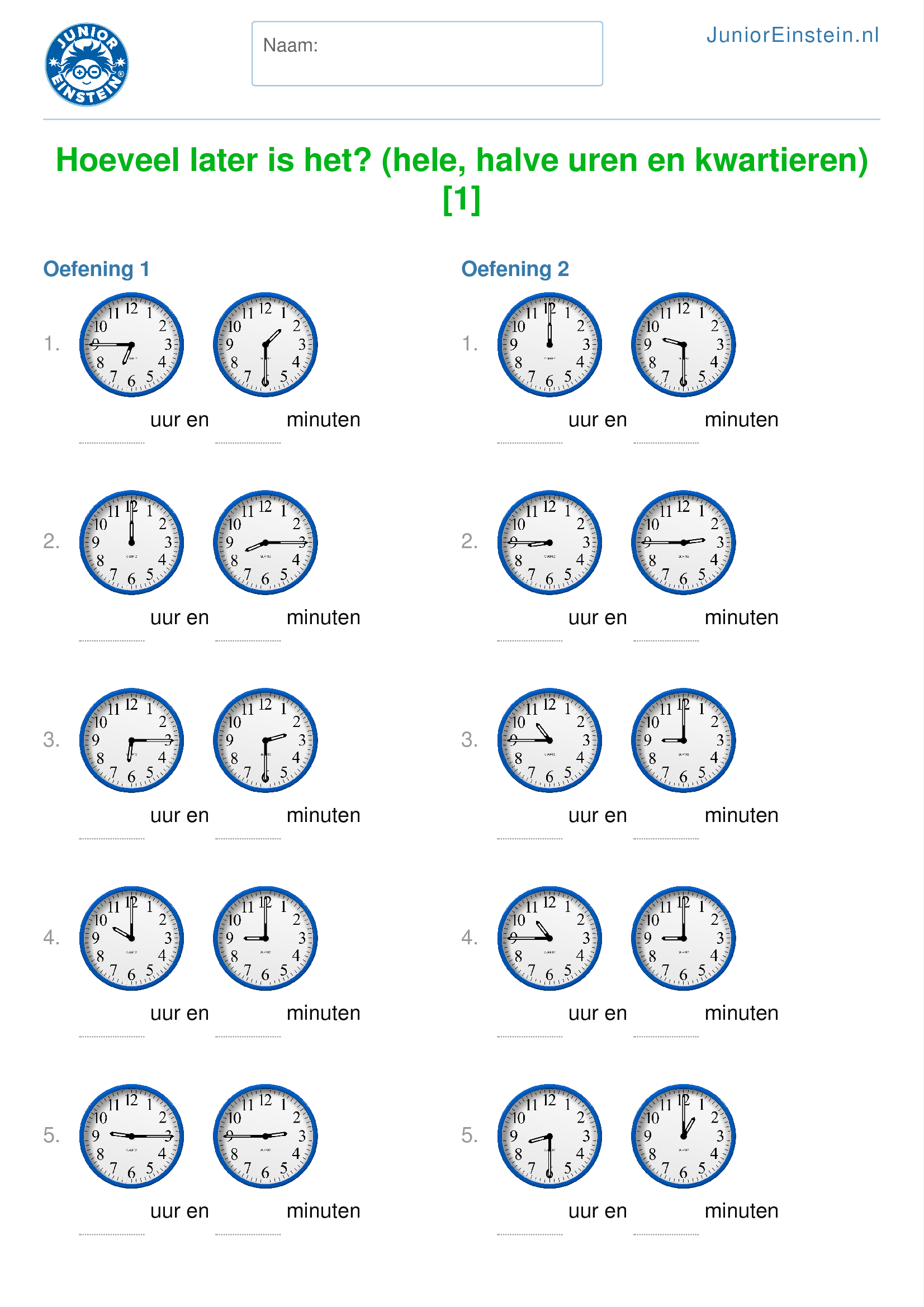 Uitgelezene Werkblad: Hoeveel later is het? (hele, halve uren en kwartieren BO-18