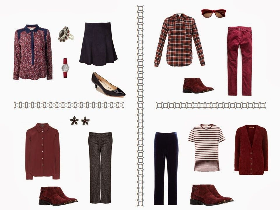 Capsule wardrobe inspired by a Scarf in a Navy and Burgundy color palette  | The Vivienne Files