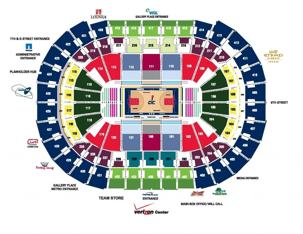 Verizon Center Seating Chart With Seat Numbers