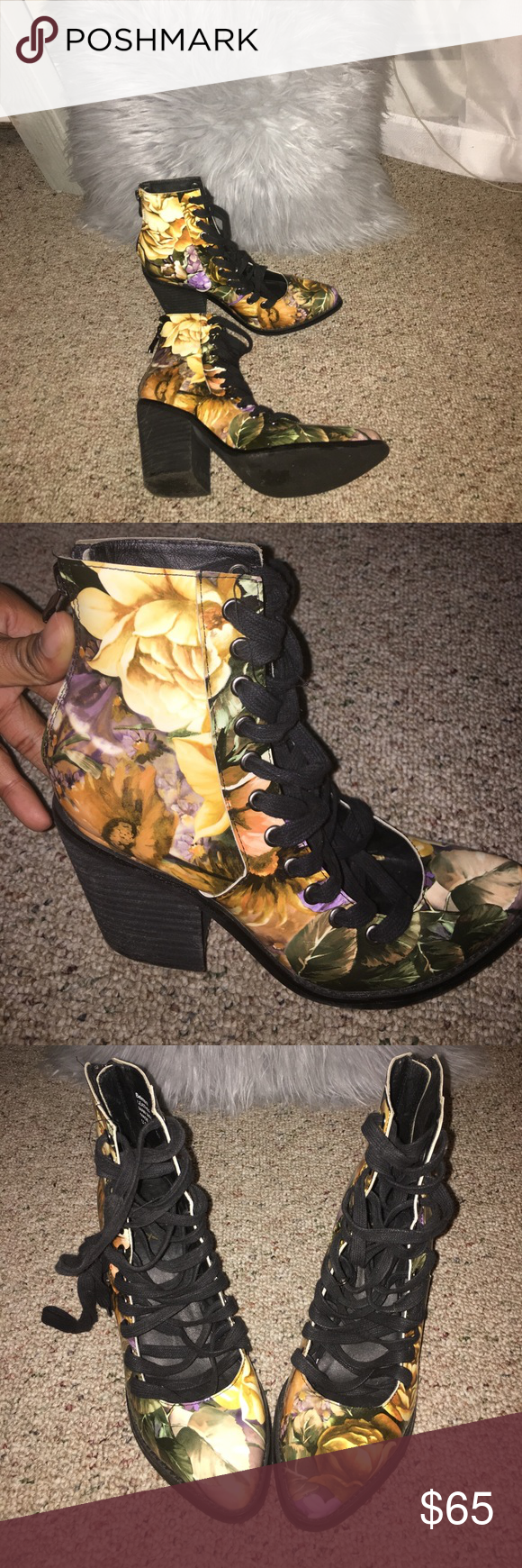 Floral booties YES brand floral booties. These booties lace all the way up! And have a zipper going up the back. In good condition except the nick on the back of the heel as pictured in the last photo. Marked size 8 but fits 7.5 better yes  Shoes Sandals