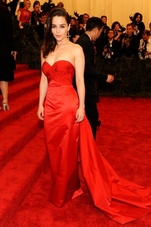 Emilia Clarke, Game of Thrones' mother of dragons, was red hot in a custom Ralph Lauren evening dress
