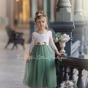 Flower Girl Dress, Sage Green Flower Girl Dress, Lace Long Sleeve Flower Girl Dress, Boho Flower Girl Dresses Gallery
