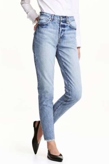 a4c10172c5c 5-pocket ankle-length jeans in washed denim with worn details, a high  waist, low crotch, button fly and straight legs.
