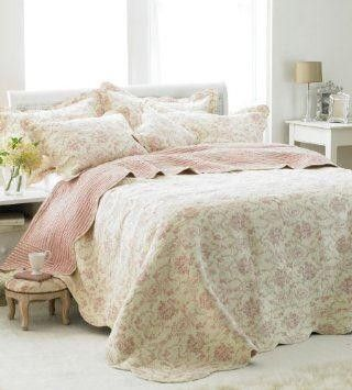 Etoille Toile De Jouy Cotton Quilted Bedspread Cream Pink Double Bedspreads Bedspreads Duvets Sheets Throws Bed Spreads Bed Throws Pink Bedding