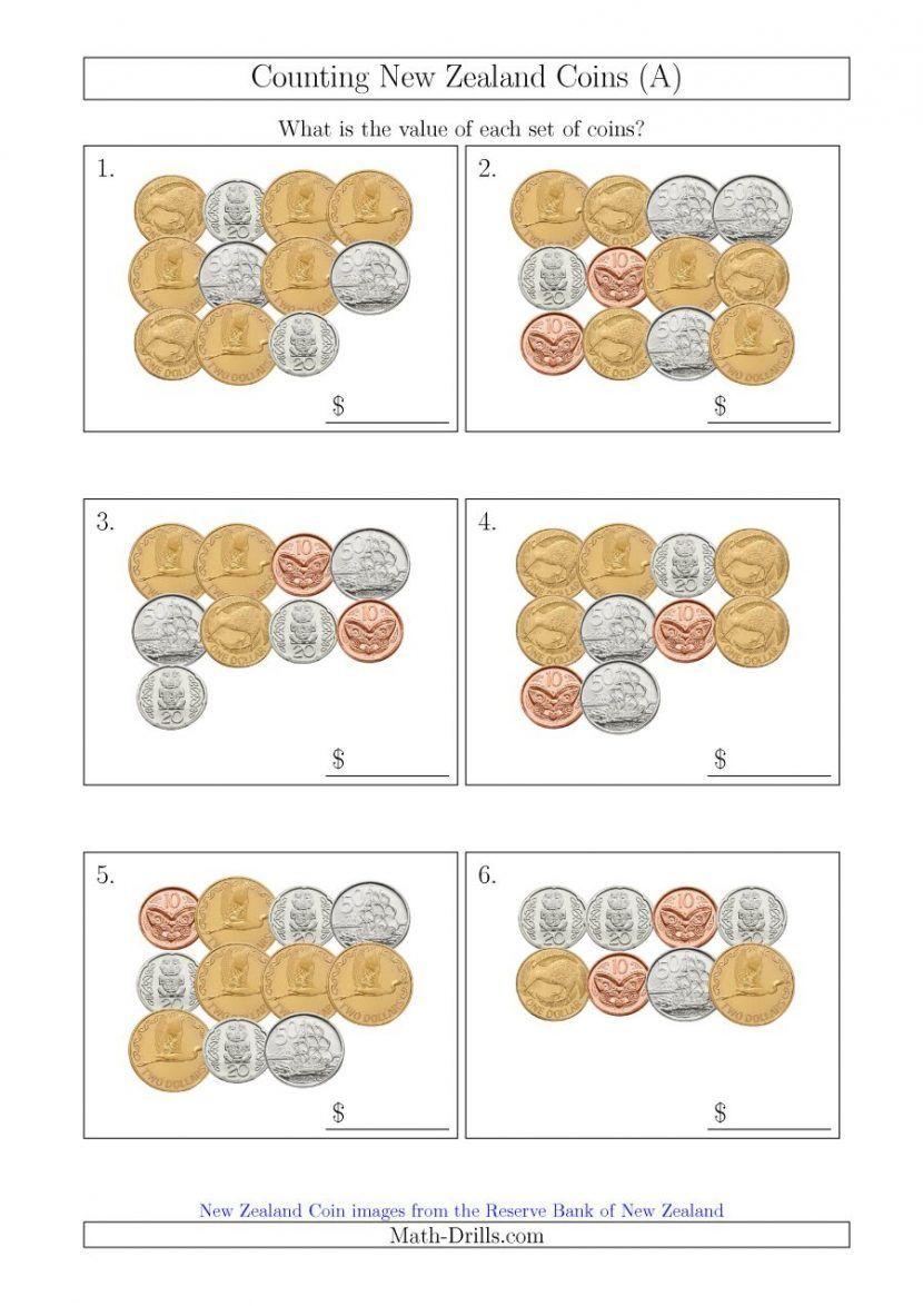 Counting New Zealand Coins A Maths Money Worksheets Australia Nz 00 Ks1 Printable Ks3 Free Money Worksheets Teaching Money Money Activities [ 1174 x 830 Pixel ]