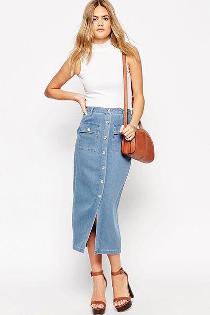 14f5cdcb6 Maong Skirt, Denim Trends, Denim Skirts, Denim Pencil Skirt, Jean Skirts,
