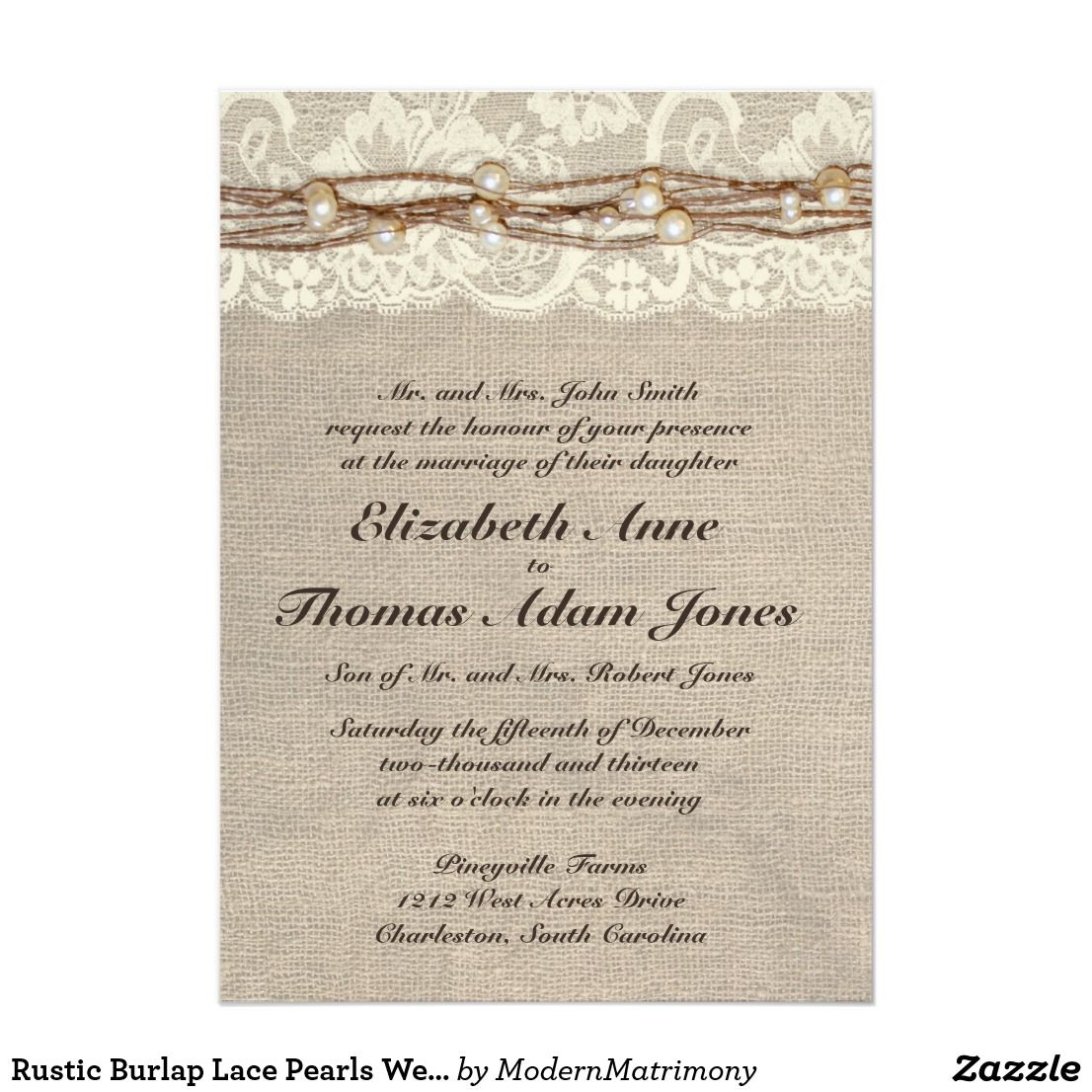 Rustic Burlap Lace Pearls Wedding Invitation | Burlap lace, Country ...