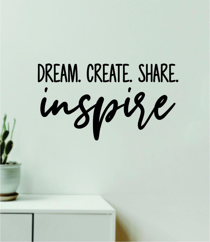 Dream Create Share Inspire Wall Decal Home Decor Vinyl Art Sticker Bedroom Quote Nursery Baby Teen Boy Girl School Inspirational Playroom - olympic blue