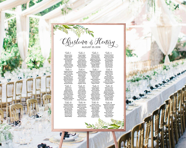 Greenery Wedding Seating Chart Template Editable Seating Chart Watercolor Greenery Printable Wedding Table Plan Editable Template W42st 2 By Lovebirthdayshop