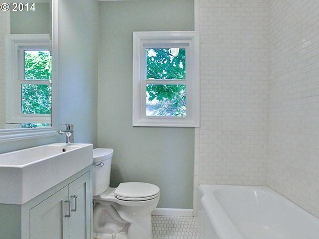 bathroom orientation of toilet and sink; subway tile, paint, tile ...