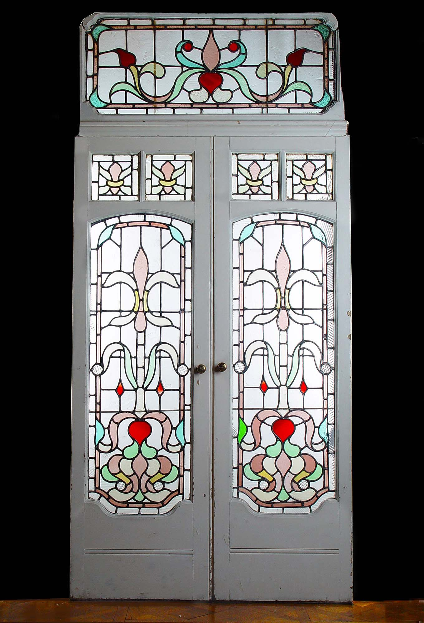 A pair of art deco painted pine stained glass conservatory