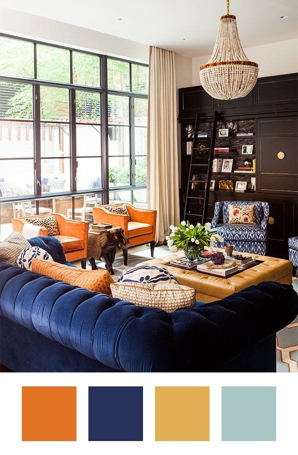 Orange Crush How To Make Orange Work In Your Home Living Room Orange Burnt Orange Living Room Blue And Orange Living Room
