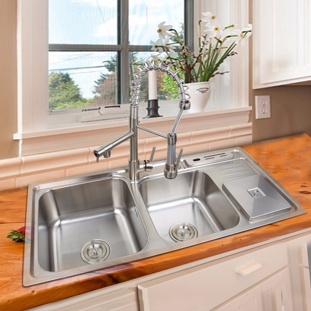 355.98$  Buy here - http://ai8x8.worlditems.win/all/product.php?id=32795374409 - Kitchen Pull Out&Pull Down Faucet with soap dispenser trash can oxidation-resisting steel Basin Sink Set