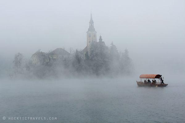 Foggy Lake Bled, Slovenia