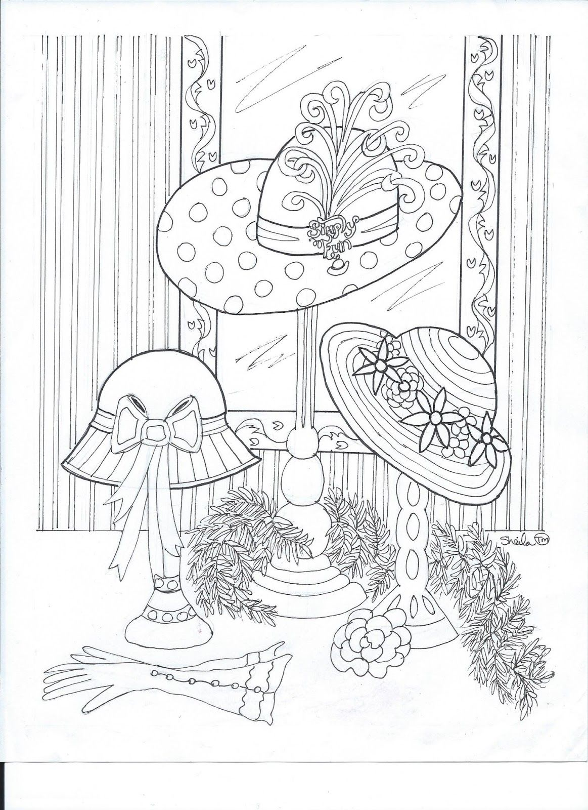 "Free printable coloring page with a Red Hat theme for ""International Color it Red and Purple Day."" #redhatsociety"