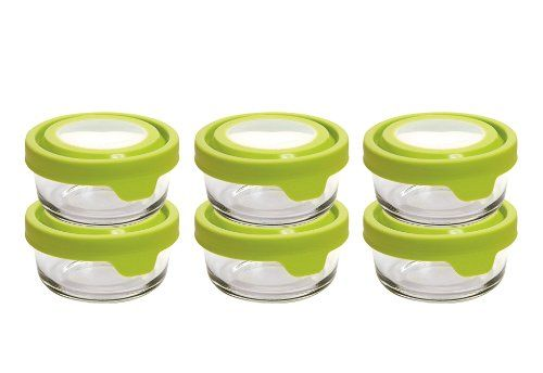 Set Contains 6 1 Cup Round Glass Storage Dishes With Green Trueseallids Anchor Glass Food Sto Glass Food Storage Containers Glass Food Storage Food Storage