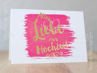 Alles Liebe zur Hochzeit - Doppelkarte - Grafik Werkstatt Bielefeld