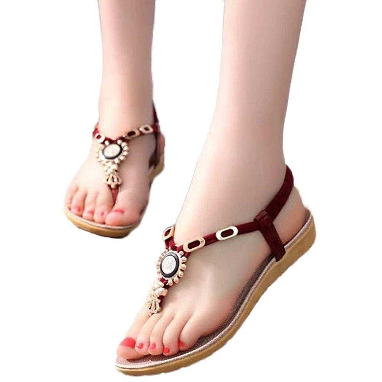 Summer Sandals Inkach Summer Bohemia Sandals Beach Shoes Sweet Beaded Sandals Clip Toe