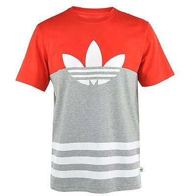 Adidas Colorblock Trefoil Tee Mens S27533 Grey Red White
