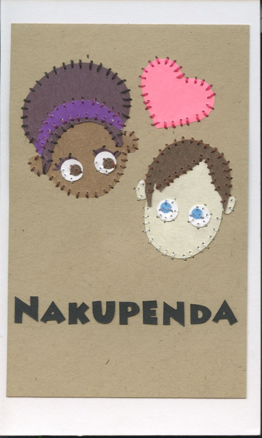 nakupenda (i love you) swahili flashcards 4x6 inches hand-cut and sewn paper collage