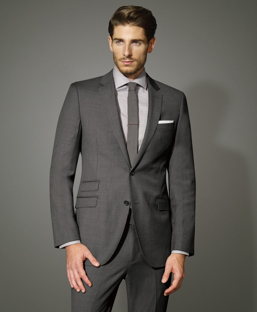 Charcoal Two Button Slim Fit Worsted Wool Suit - Slim Fit Suits ...