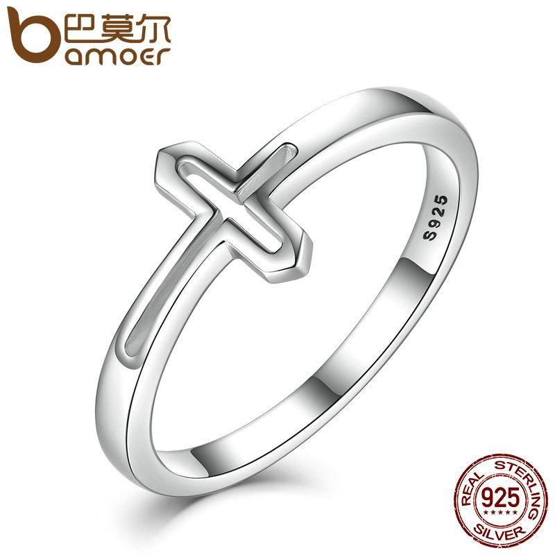 Bamoer Sterling Silver Symbol Of Faith Cross Rings For Women Luxury