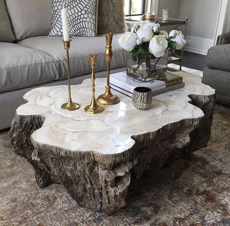 Photo of Trunk Shaped Clam Shell Lava Coffee Table Stonecast Top with inlaid petrified …