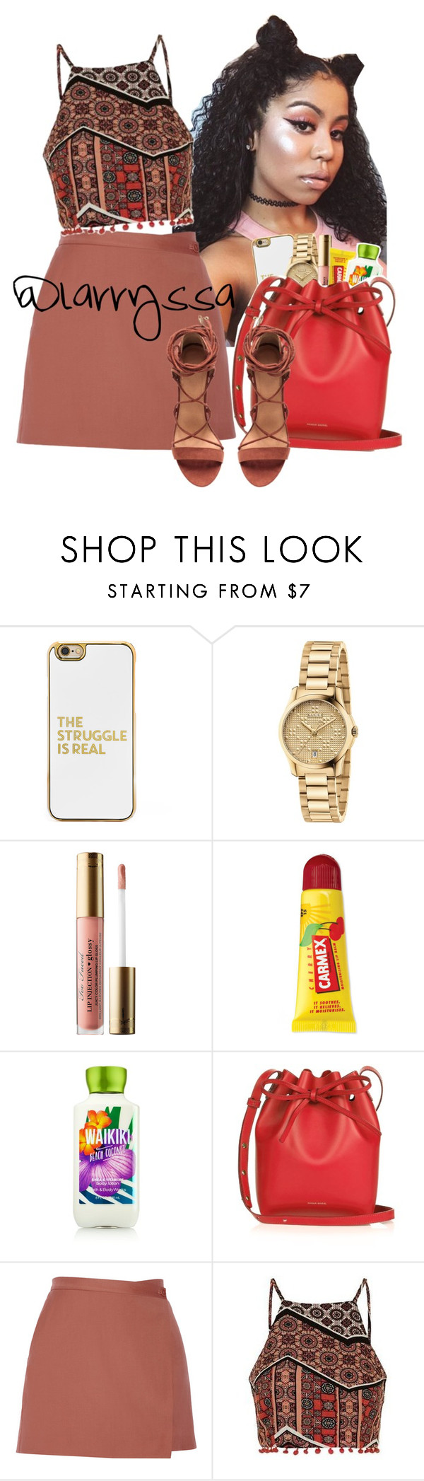 """""""Level Up"""" by larryssa ❤ liked on Polyvore featuring BaubleBar, Gucci, Too Faced Cosmetics, Carmex, Mansur Gavriel, Theory and Topshop"""