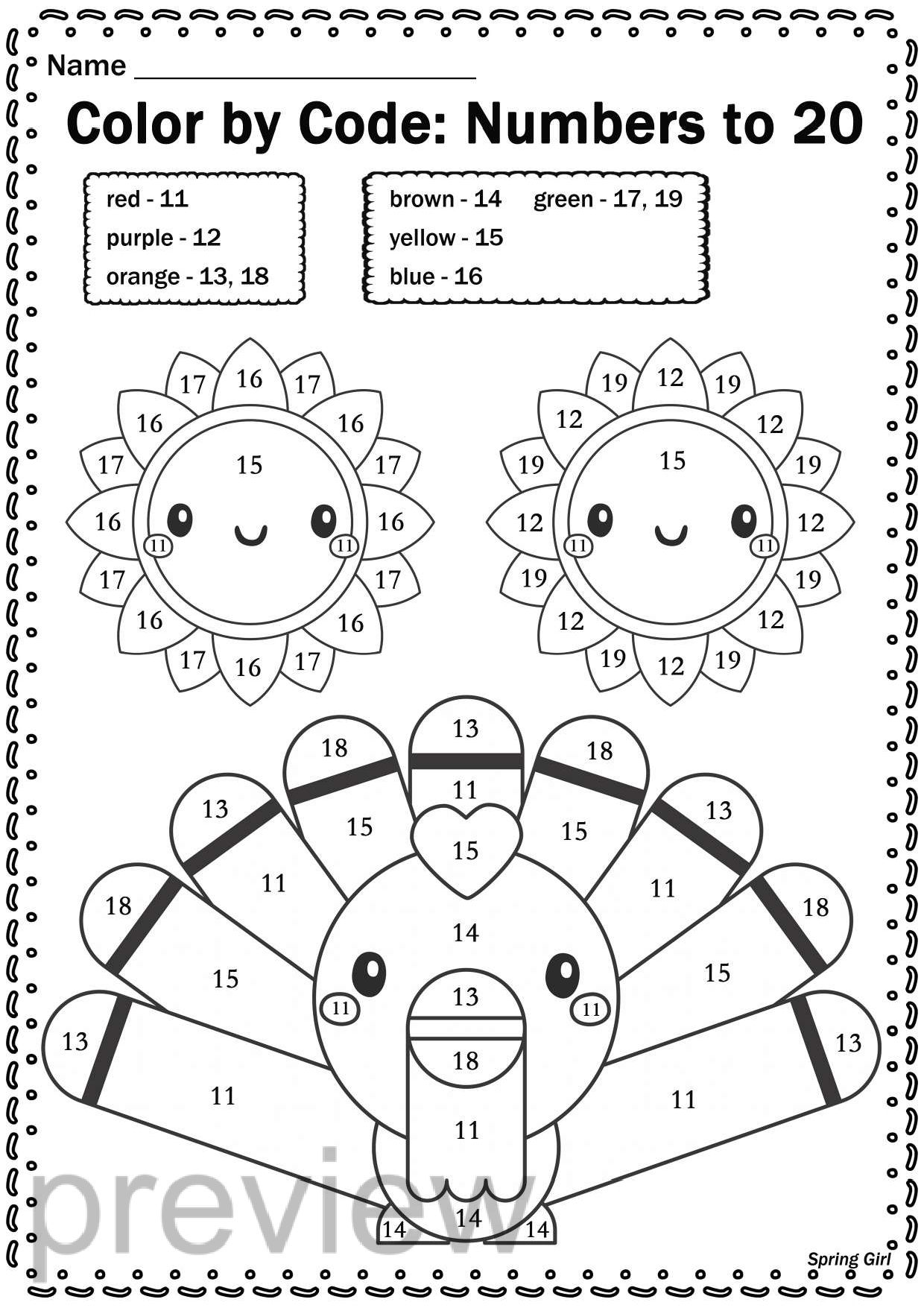 Thanksgiving Math Color By Code Worksheets
