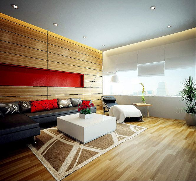 Wood panel red accent living dream home interiors by open design picture 15