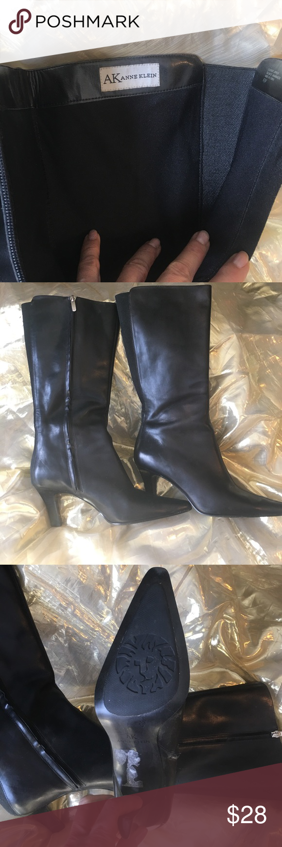 Anne Klein black leather boots These boots are so classic worn seldom if ever 👀 look brand new!!!! Anne Klein Shoes Ankle Boots & Booties