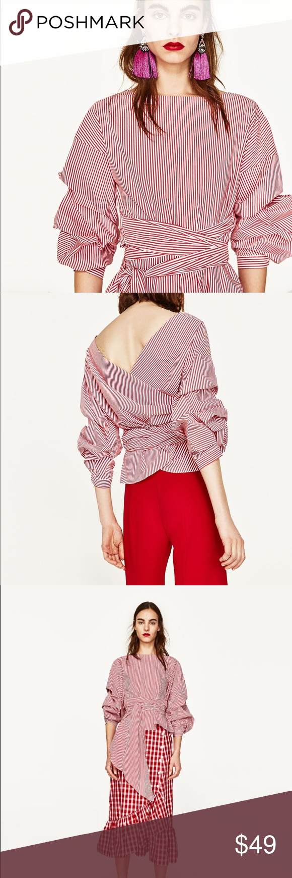 e459ac9f0a1 Zara red & white striped wrap blouse puff sleeve Zara red & white striped  wrap blouse with pleated puff sleeves. Beautiful statement top.