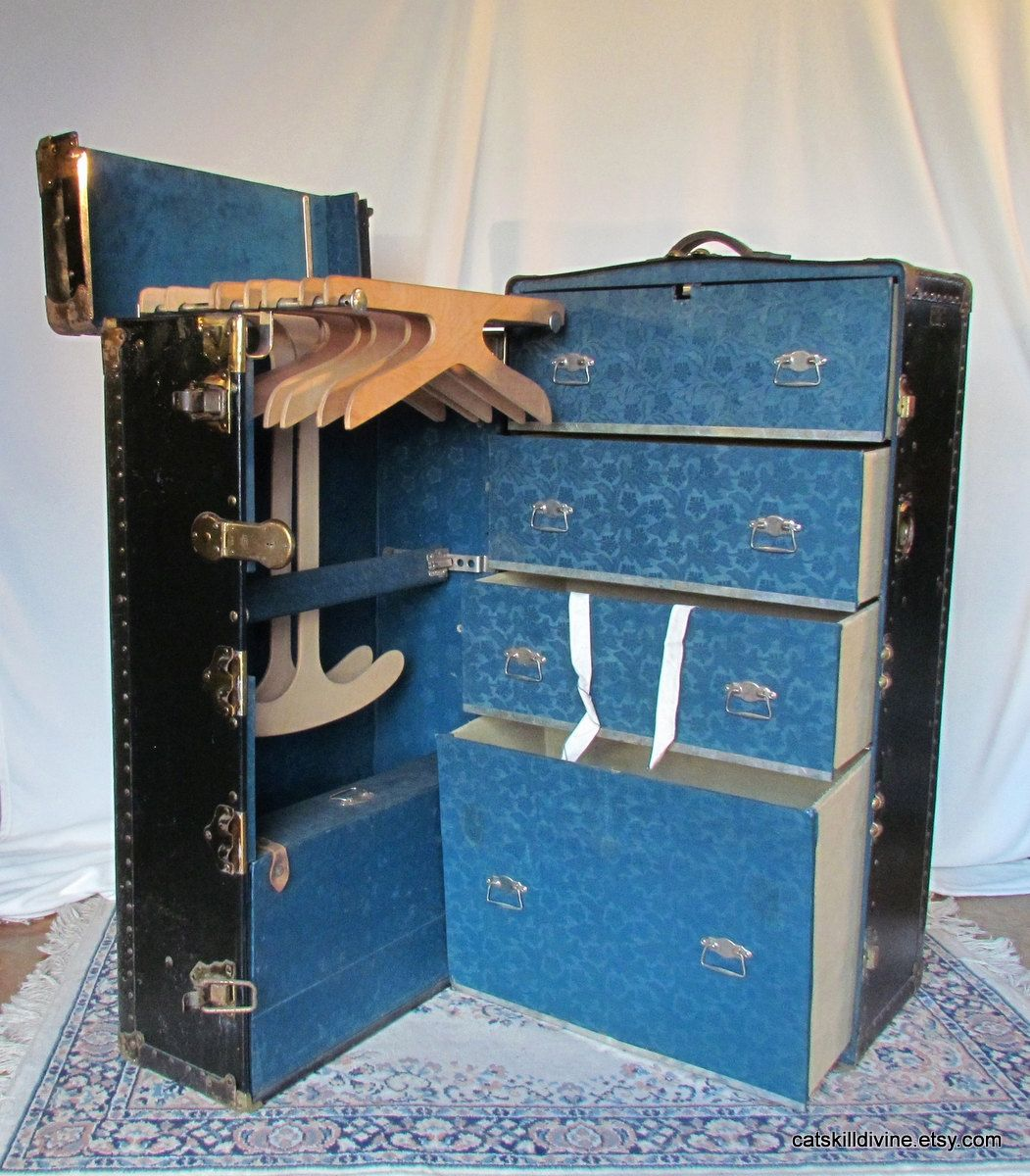 Exceptional Reserved Antique Wardrobe Trunk Steamer Trunk By CatskillDivine