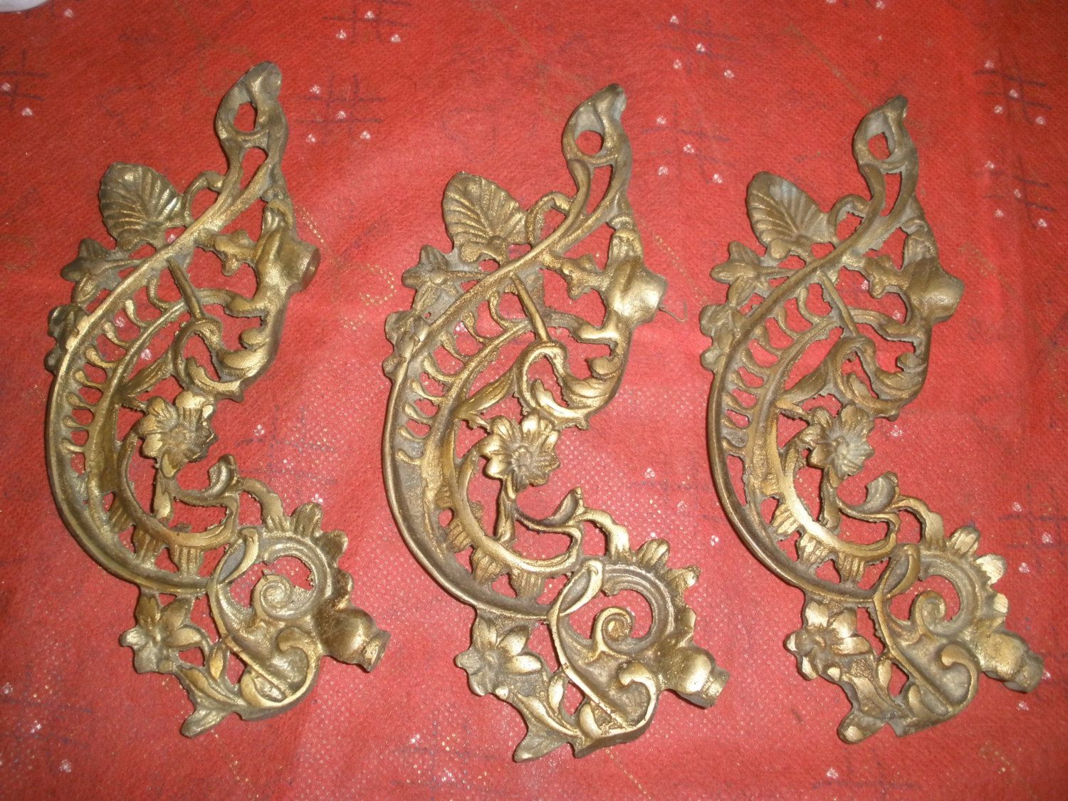 Vintage set of 3 brass arms ornate for chandelier parts 7.5\